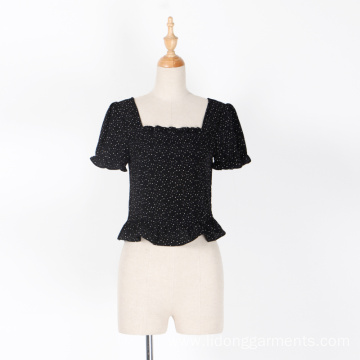 Women/Girt Dot Chiffon Lace Casual Shout Sleeve Top