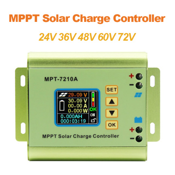 MPT-7210A LCD MPPT Solar Panel Charge Controller Aluminum Alloy for Lithium Battery output 600W 24V 36V 48V 60V 72V battery pack