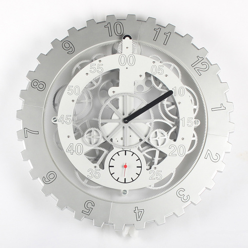 Metal Big Gear Wall Clock White