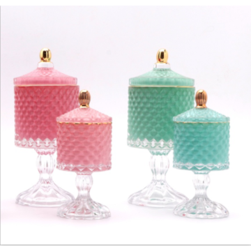 Wholesale glass geo cut candy jar with base