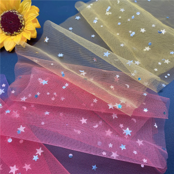Rainbow Tulle Mesh Fabric with Sequin Stars