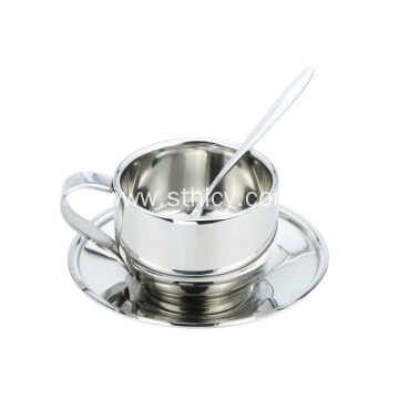 Stainless Steel Coffee Cup Saucer Set With Spoon
