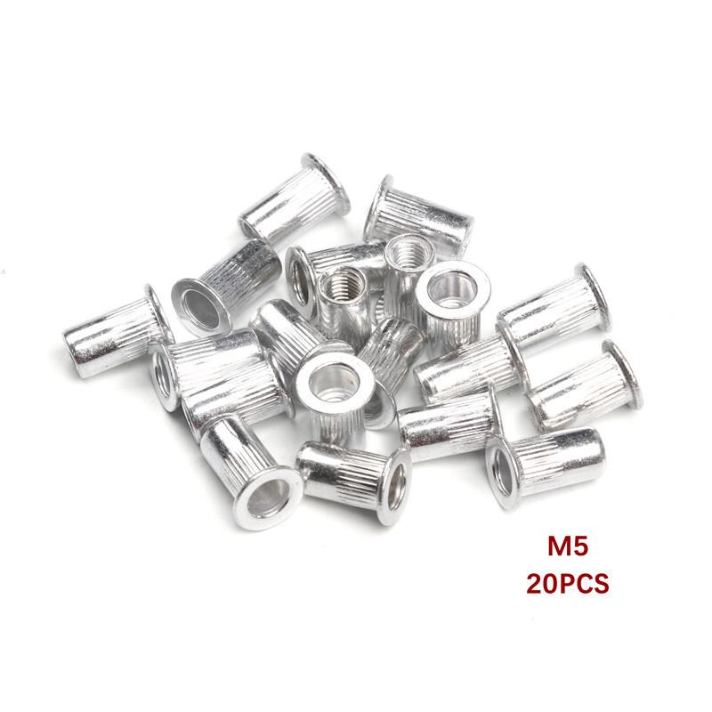 50Pcs M3 M4 M5 M6 M8 M10 Flat Head Rivet Nuts Set Aluminum Alloy Rivet Nuts Nuts Insert Riveting Premium Automatic Rivet Tool