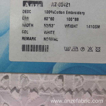 100% cotton  embroidery lace fabric with holes