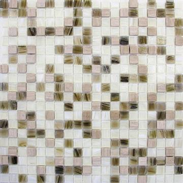 Combination of rustic stone and modern glass tiles