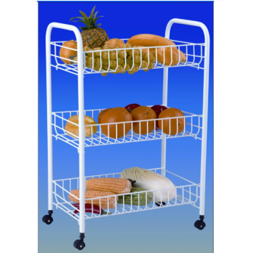Three-layer stainless steel fruit and vegetable basket cart