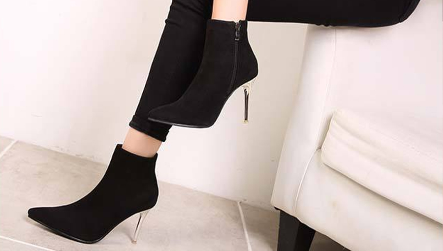 Black Stiletto Heel Booties