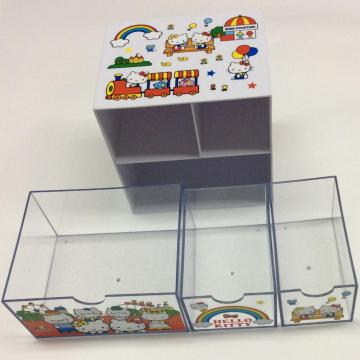 Plastic double-layer storage box with drawer