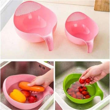 1pcs Rice Washer Quinoa Strainer Cleaning Veggie Fruit Kitchen Tools with Handle Newest Plastic rice cleaner S/M