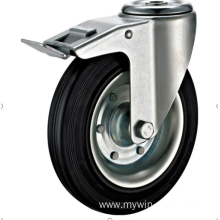 80mm hole top  European industrial rubber  swivel caster with brake
