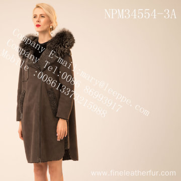 Winter Medium Hooded Fur Overcoat For Lady