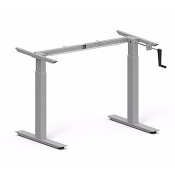 Gray Hand Crank Height Adjustable Standing Desk