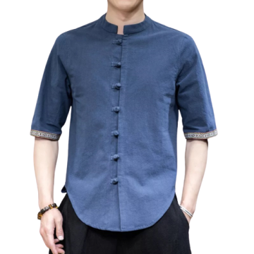 Mens Fashion Leisure Short-sleeved Cotton Linen Shirts