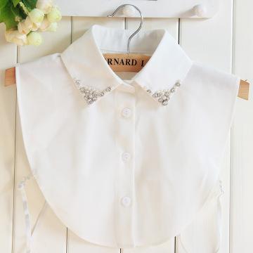 Linbaiway Women Shirt False Collar Bead Decoration Detachable Fake Collar V-neck Lapel Blouse Top Tie Clothes Accessories