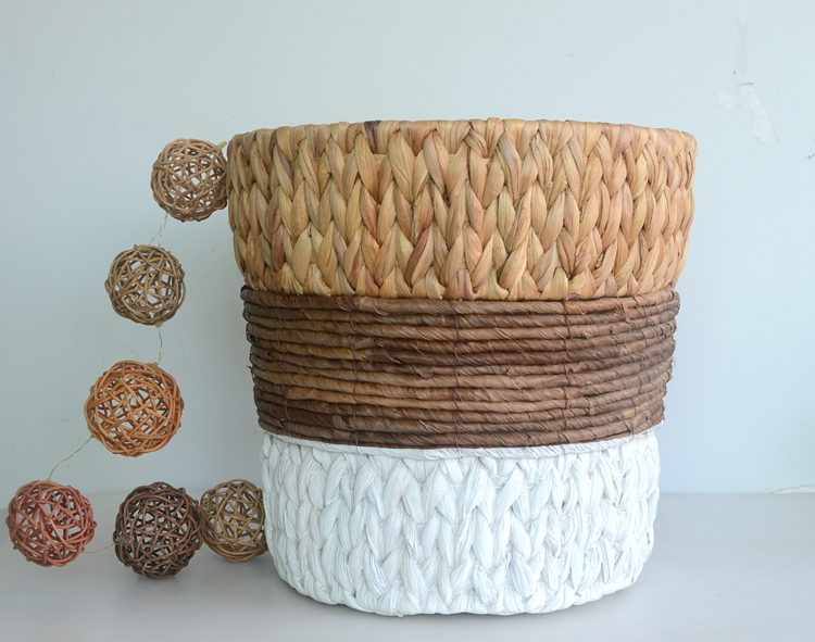 Round water hyacinth and maize rope storage basket-4