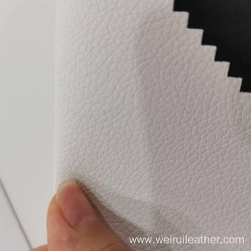 Pure White Lychee Lines PVC Leather