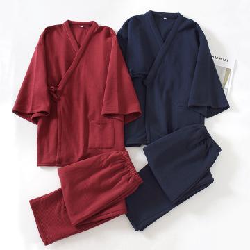 Oversize Japanese Style Kimono Cardigan Pants 2pcs Set Men's Nightwear Cotton Comfortable Home Suit Robe Sleepwear Daily Casual