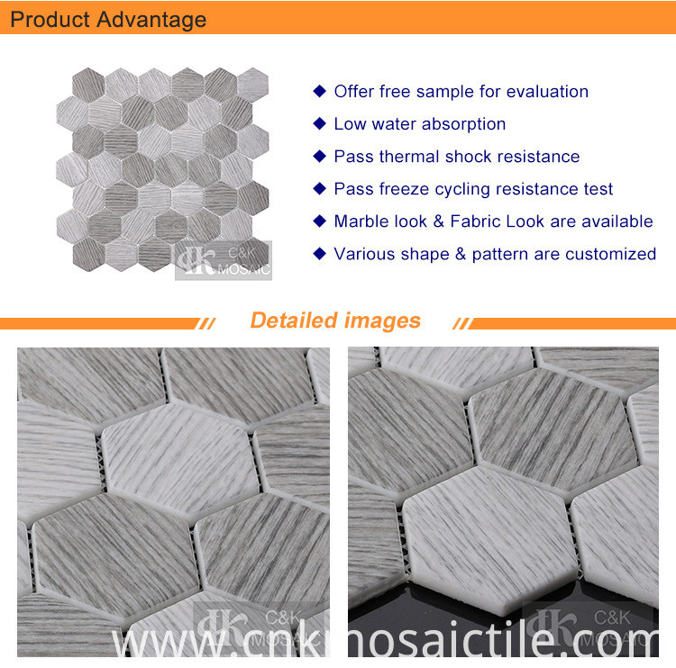 2 Hexagon Grey Wood Pattern Glass Mosaic Tile (1)