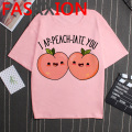 Kawaii Peach T Shirt Women Small Fresh Peach Juice T-shirt Funny Cartoon Peachy Graphic Tshirt Plus Size Unisex Aesthetic Female