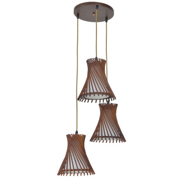 Home-Style Decor wood pendant lamp with 3 lights