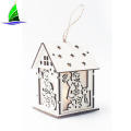 Hanging LED Wooden House For Christmas Decorations