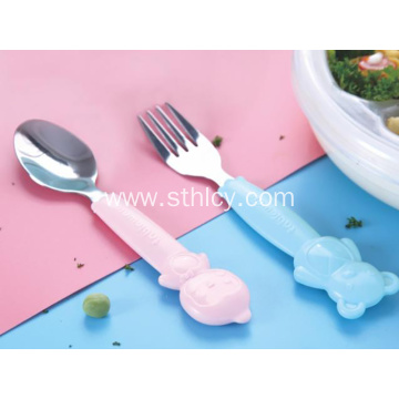 New Children's Cartoon Stainless Steel Spoon Fork Set