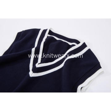 Boy's Knitted White Stripe School Vest