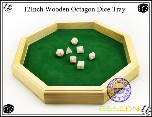 12Inch Wooden Octagon Dice Tray