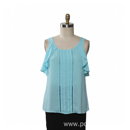 Ladies Chiffon Blouse Ruffle Sleeve