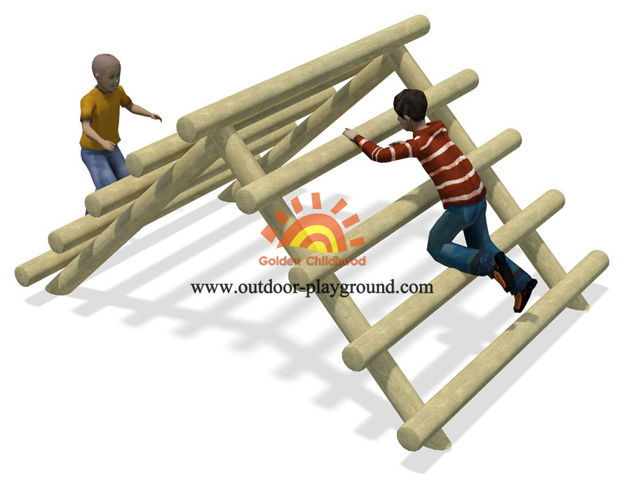 outdoor log frame tunnel net climber for kids