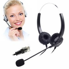 Corded Binaural Telephone Headset, Hands-Free Noise Cancelling 4-Pin RJ9 Telephone Headset for Call Center and Telemarketing