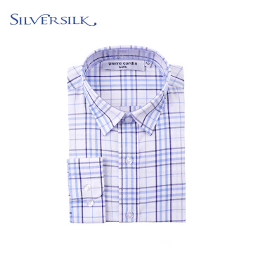 Custom Branded Autumn Blue Plaid Casual Teenager Shirts
