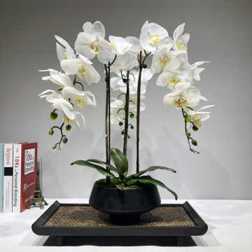 Large Artificial orchid flower arrangement PU real touch hand feeling floor Table Decoration home high quality bouquet no vase