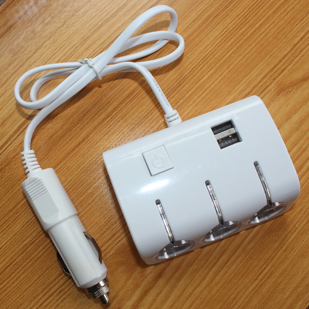 120W New Arrival Sockets Autos Cigarette Lighter Splitter 2USB Ports Charger Adapter With Switch Hand Accessory