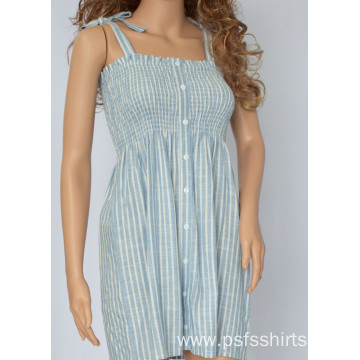 Women Striped Strapless Dress