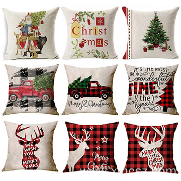 Christmas Santa Claus Cotton Linen Gift Cushion Cover