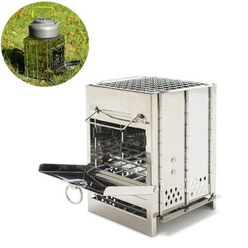 Outdoor Grill Stainless Steel Integrated Wood Stove Folding Camping Barbecue Portable Mini Wood Lightweight Cooking Stove