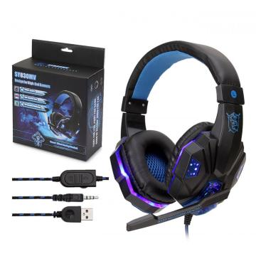 Glowing Stereo Computer Wired Gaming Headset Headphone With Microphone Mic LED light for PC