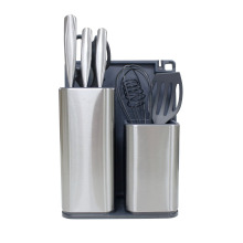 Utensil Holder With Cooking Utensil Set Knives Block