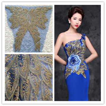 Gold sequins mesh flower embroidery clothing patch