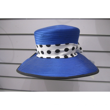 Women's Big Brim Satin Ribbon Formal Church Hats