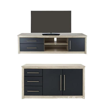 Modern Black and White TV Entertainment Unit