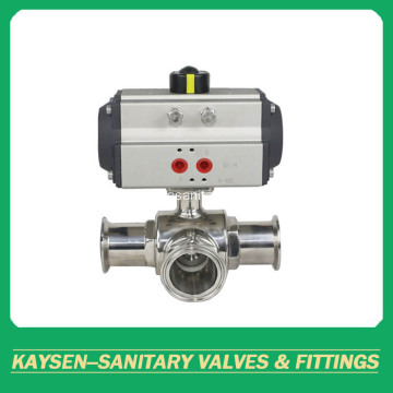 DIN Sanitary 3-way clamped ball valves pneumatic actuator