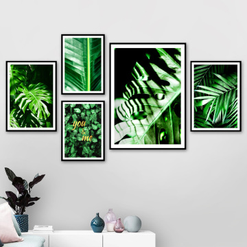 Fresh Green Palm Banana Monstera Leaf Wall Art Canvas Painting Plants Nordic Posters And Prints Wall Pictures For Living Room