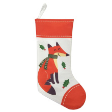 Printed Christmas stocking with winter woodland theme