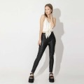 External Wear Tight Trousers Black Pu Pants