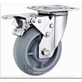 4 inch Stainless steel bracket  TPR  casters with  brakes