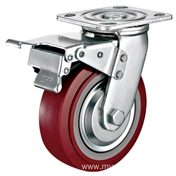 8inch Swivel TPU With Steel Cover Castors With Top Brake