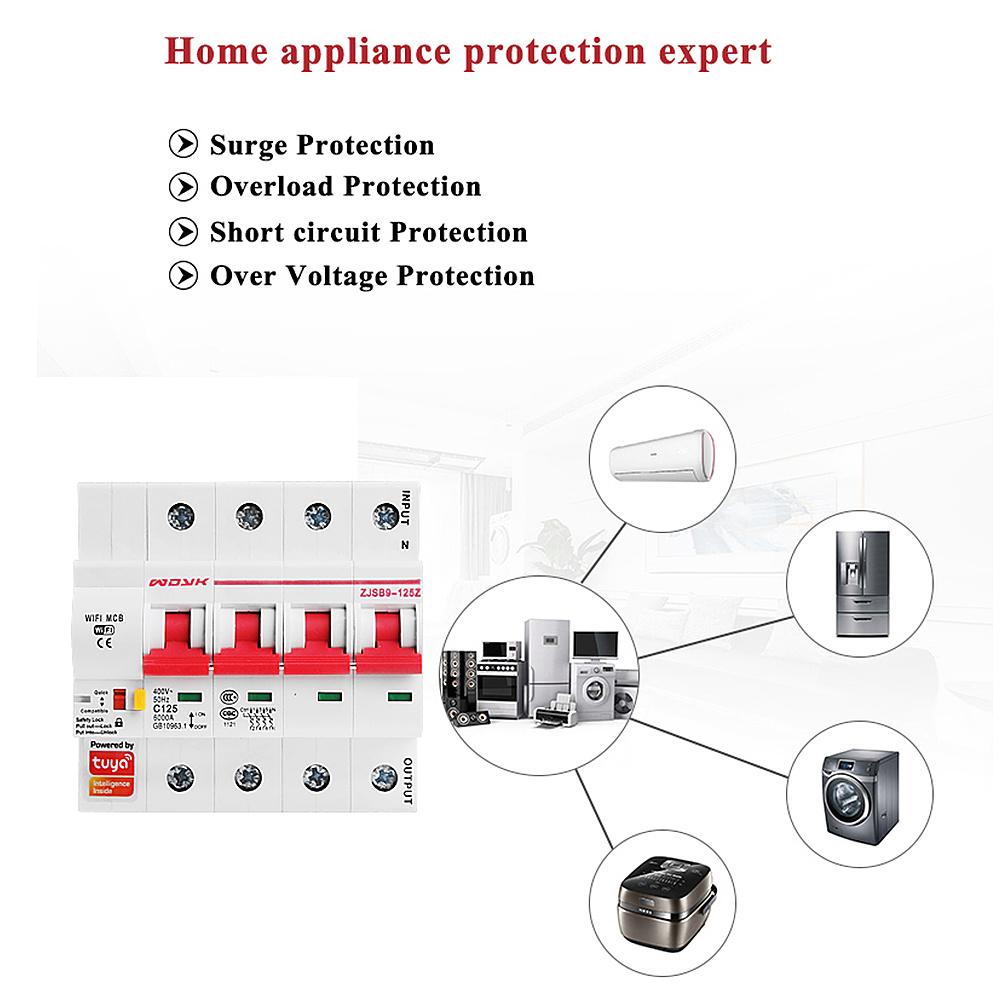 4P WiFi Smart Circuit Breaker overload short circuit protection with Amzon Alexa google home for Smart Home Smart life,tuya app