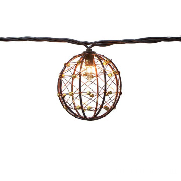 Outdoor Beaded Copper Wire Ball String Light